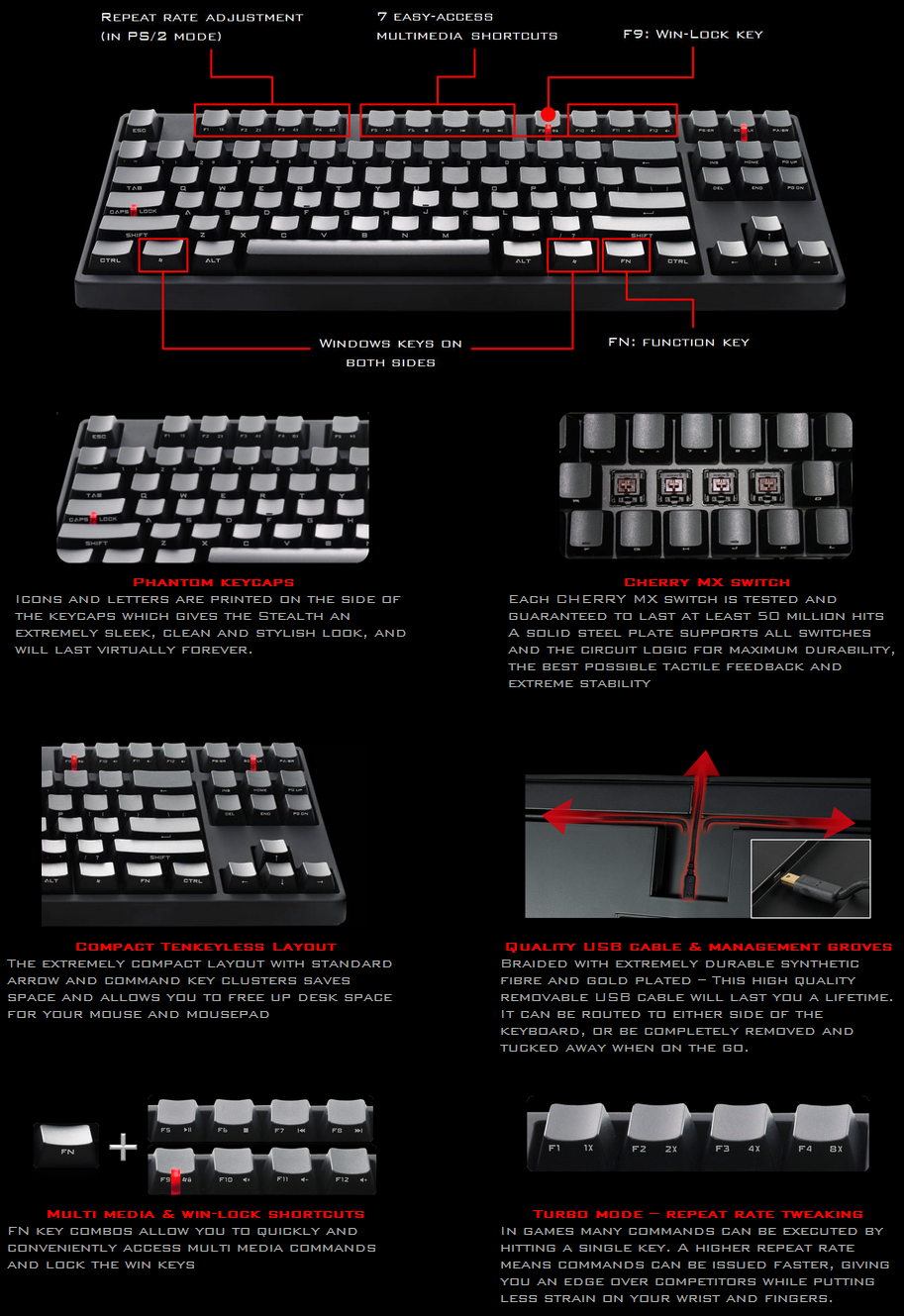 Cooler Master Storm Stealth Cherry MX Blue Mechanical Keyboard features