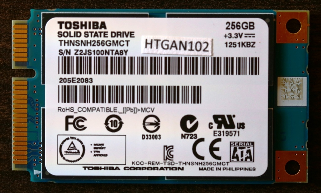 Toshiba THNSN mSATA 256G SSD Front