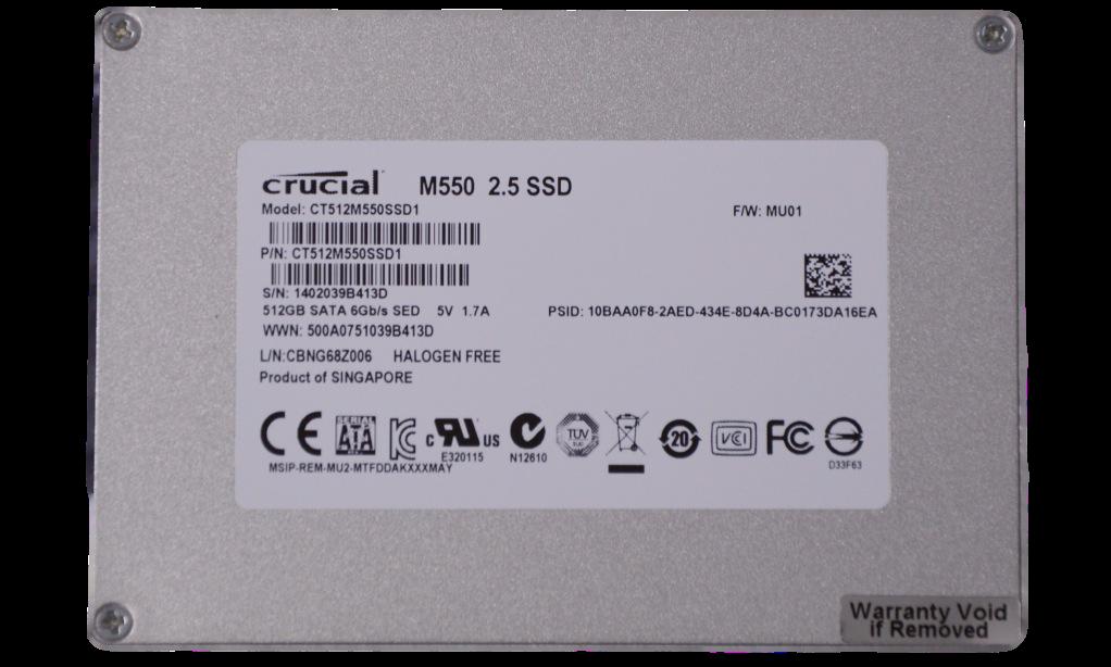 Crucial M550 SSD 512GB SSD Back