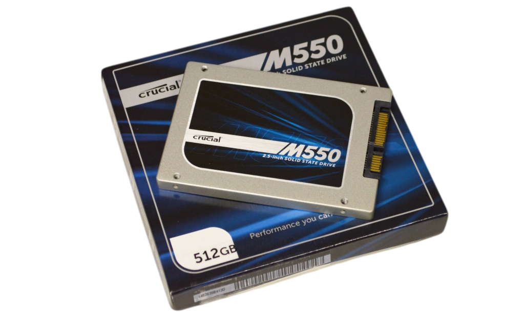 Crucial M550 SSD 512GB Package and SSD